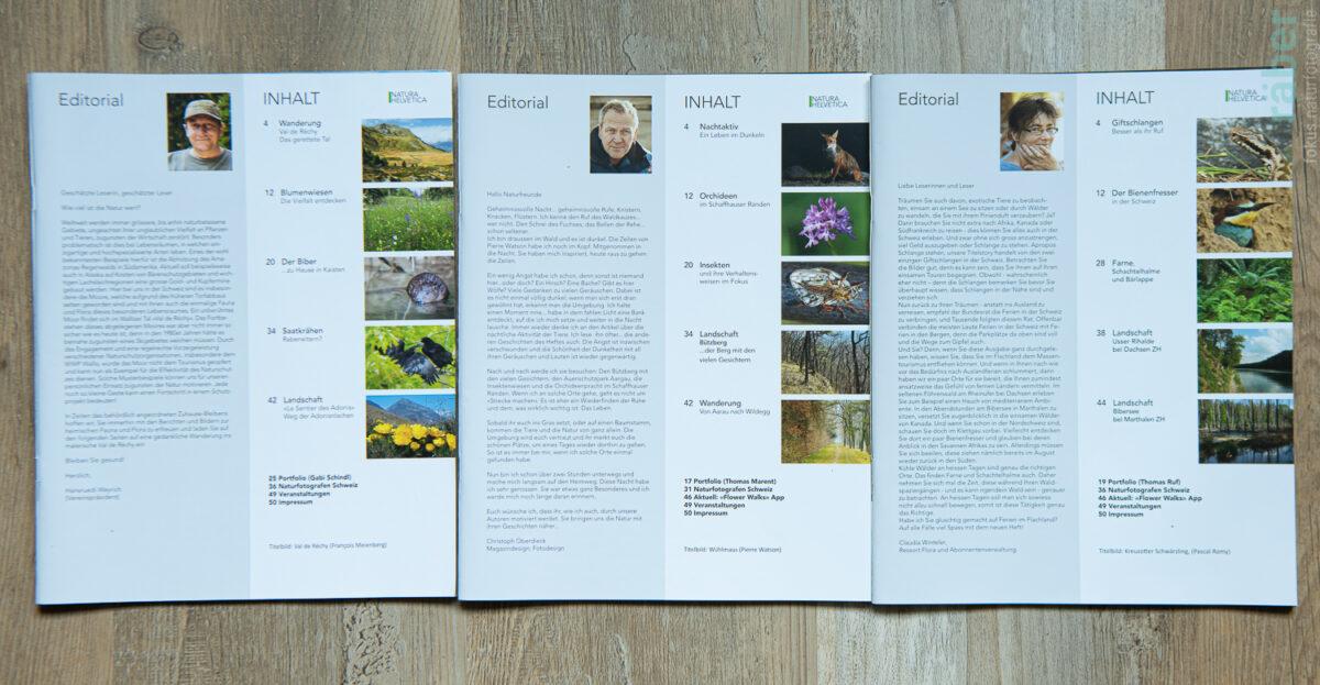 NATURA HELVETICA: Editorial - sich in der Natur- und Tierwelt weiterbilden